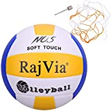 Palla da Gioco Soft Touch Pallone Volley Ufficiale Taglia 5 Indoor Outdoor Beach Gym Pelle Sintetica Includere Una Borsa a Rete&Un ago (Blu)