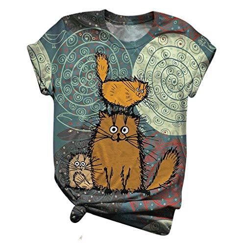 Dasongff Damen 3D T-Shirt Tire Muster Druck, Sommer Beiläufige Kurzarm T-Shirts T-stücke Rundhals Tshirt Katze Sonnenblume Giraffe Hund Kuh...
