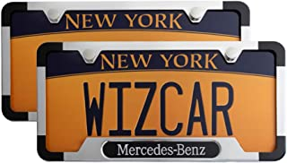 WizCar 2 Pack Luxury Polished Stainless Steel License Plate Frame for Mercedes Benz