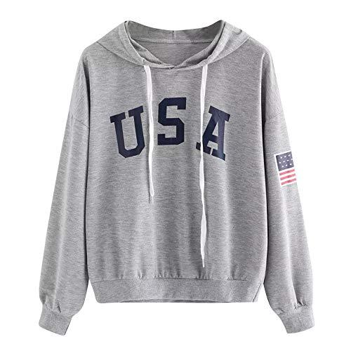 SALUCIA Hoodie Damen Langarm USA Aufdruck Sweatshirt mit Kapuze Pullover Kapuzenpullover ohne Taschen Langarmshirt Top mit Kordelzug