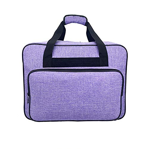 Waterproof Nylon Sewing Machine Tote Bag Sewing Machine Storage Bag Travel Portable Sewing Machine Hand Bags Carrying Case w/ Pockets & Handle for Standard Sewing Machines & Accessories (Purple)