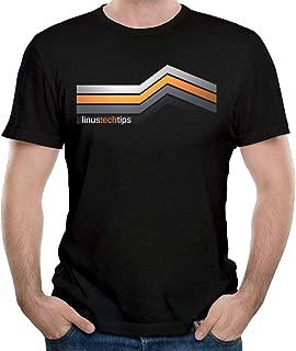 L-Inus Tech Tips Men's Funny Short Sleeve Cotton T-Shirt Black