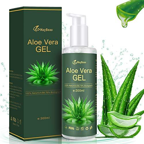 MayBeau Aloe Vera Gel 300ml mit Drücken Sie Pumpenkopf Bio Aloe Vera für Sonnenbrand Reparieren Insektenstichen Natürliche Kosmetik Ohne Alkohol und Eigenartigen Geruch