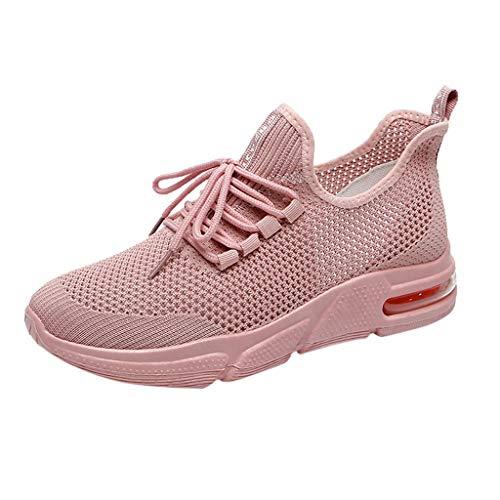 Saihui Sneakers Damen Netz Gym Atmungsaktiv Schuhe Strick Laufschuhe Trainer Sneake Sportschuhe rutschfeste Straßenlaufschuhe (EU:40, Rosa)