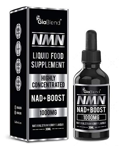 GiaBlend NMN Drops 1000mg - Boost NAD+ Levels for Energy Boost, Cellular Repair, Mental Performance & Anti Aging. Nicotinamide Mononucleotide Premium Supplement - Vegan