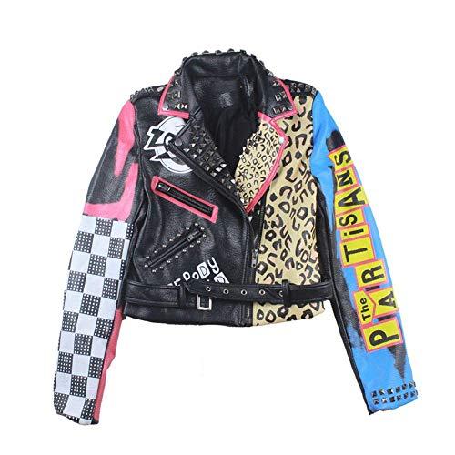 WLKFHBVV Jacke Frauen New Spring Biker Jacken Motorrad Umlegekragen Punk Rock Streetwear Damen Mäntel @ M