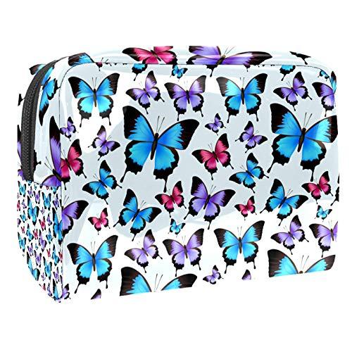 Bolsa de Aseo Hombres y Mujeres Mariposas Azul Violeta para Niñas Organizador de Bolso Cosmético Accesorios de Viaje Bolsa de Viaje Bolsa de Lavado 18.5x7.5x13cm