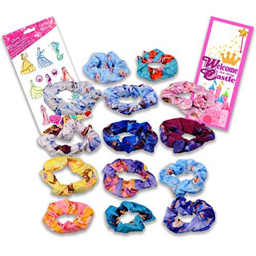 Disney Princess Scrunchies Bundle Princess Accessories Set  15 Pc Princess Hair Accessories for Girls Women with Disney Princess Stickers Princess Accessory Set