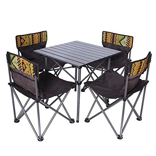 1yess 5 pièces d'extérieur Table Pliante et Chaise, Poids léger Facile Portement, Matériel en Alliage d'aluminium, Stable Robuste Durable, for Camping en Plein air Voyage Plage Barbecue 8bayfa