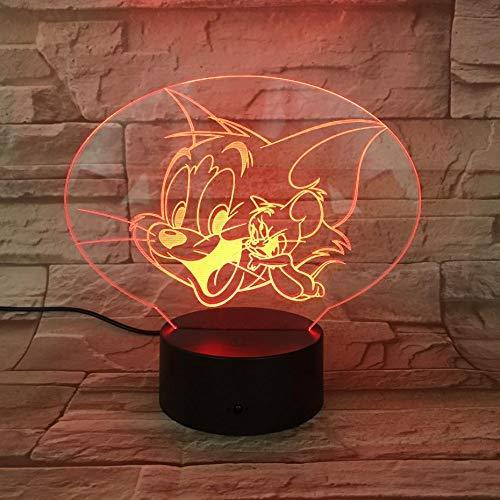 KCGNBQING Animal ratón 3D llevó la luz de la noche del gato de dibujos animados, la ilusión óptica de la lámpara del cambio del color de la decoración de la lámpara 16 dormitorio sueño ligero, escrito