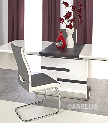CARELLIA Table A Manger Design Extensible 160-220/90/76 CM Finition Laque - Blanc/Gris