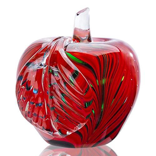 3.7 '' Murano glas geblazen rode Apple presse-papier unieke handgemaakte beeldje Collectible Christmas Gift Fengshui Home Decor Craft
