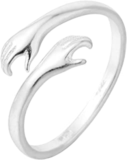 chengxun Attractive Double Hand Hug to You Finger Rings 925 Silver Jewelry for Women Men Open Adjustable