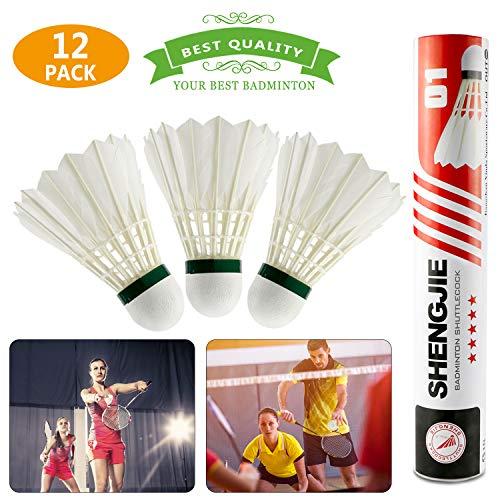 Volani Badminton,Buluri 12 Pezzi Piuma d'Oca Volani Badminton Palle da Badminton Con Piuma Naturale con Grande Elasticità e Durata per Interno, Esterno, Sport,Allenamento,Esercizio,Intrattenimento