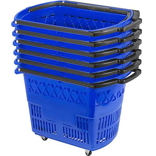 Mophorn 6PCS Shopping Carts, Blue Shopping Baskets with Handles, Plastic Rolling Shopping Basket with Wheels, Portable Shopping Basket Set for Retail Store
