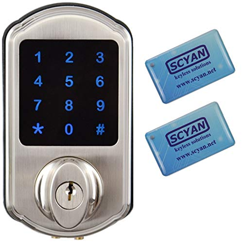 SCYAN D2 Touchscreen Keypad Deadbolt with Key Fob Access, Satin Nickel