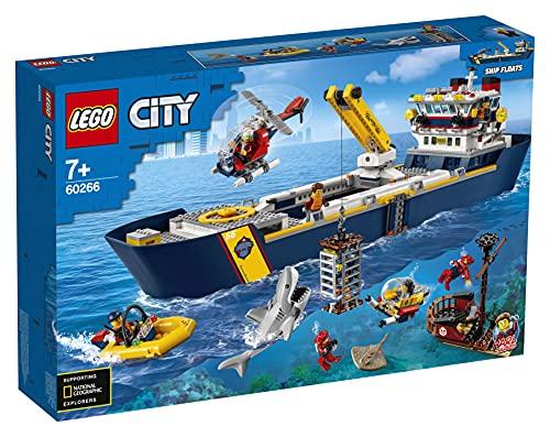 LEGO60266CityOcéano:BuquedeExploraciónJuguetedeConstrucciónFlotantecon8MiniFiguras,TiburónyRayaVenenosa