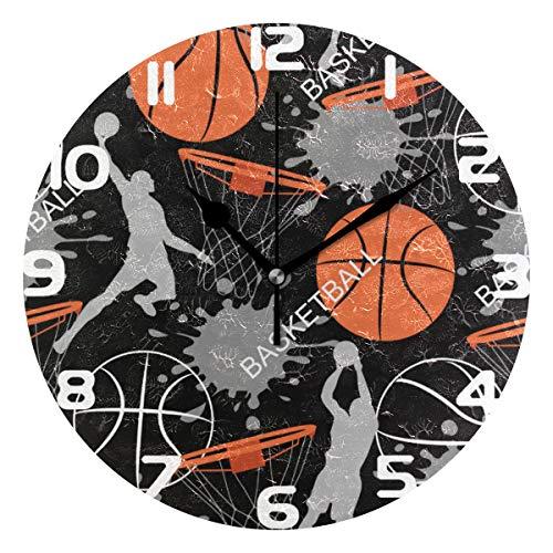 Hunihuni Wanduhr Basketball Muster geräuschlos Nicht tickend Uhr für Schlafzimmer Wohnzimmer Home Office Decor