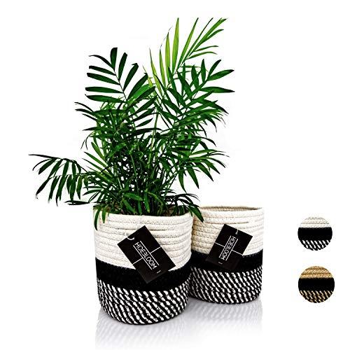 Hidebloom - Pflanzkorb - 2er Set - 16x16 cm - Schwarz / Weiß - Aufbewahrungskorb geflochten klein - Übertopf Korb - Blumentopf / Pflanzentopf - Übertöpfe für Zimmerpflanzen - Blumenkorb