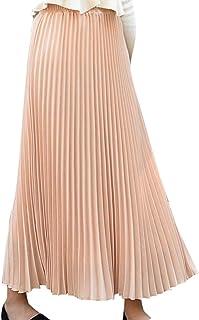 Fashring Women's Pleated Casual Ruffle Hem Elastic Waist Long Maxi Skirt
