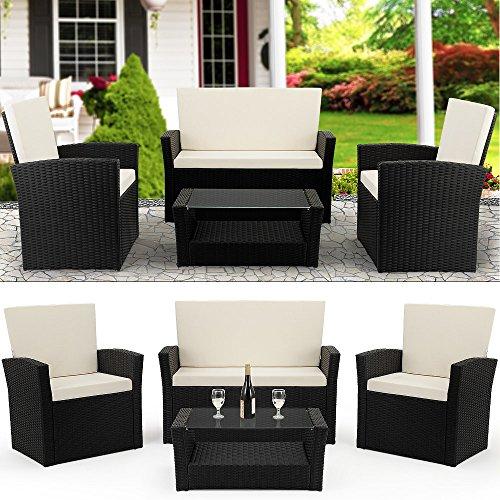 Deuba Conjunto de muebles poliratán Set con cojines de 7cm grosor 2 Sillones Banco & Mesa Muebles de Jardín Balcón Negro