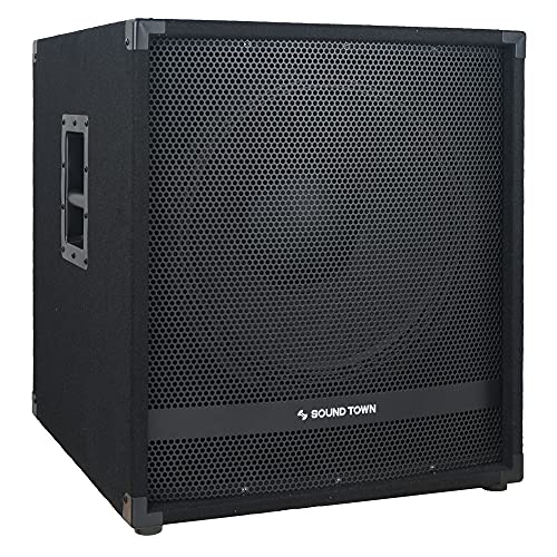 """Sound Town METIS Series 2400 Watts 18"""" Powered Subwoofer with Class-D Amplifier, 4-inch Voice Coil, High-Pass Filter (METIS-18PWG)"""