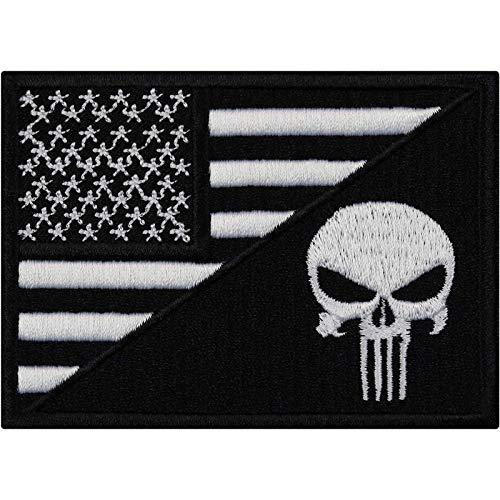 Flagge Aufnäher USA Punisher Totenkopf Biker Patch Rocker Bügelbilder Heavy Metal Sticker zum aufnähen Männer-Geschenk DIY Applikation für Leder-Jacken/Kutten/Jeans/Taschen 90x65mm