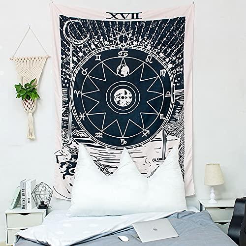 KHKJ Tapiz de Mandala de Sol y Luna, cabecero de Pared, Colcha de Arte, Tapiz de Dormitorio para Sala de Estar, Dormitorio, decoración del hogar A5 200x150cm