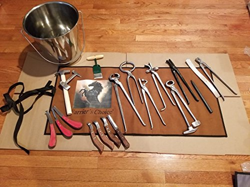 Equipment Essentials 19 Piece Farrier's Tool Kit Set Horse Hoof Nippers Clincher Tester Knife Rasp Chisel + Bucket & Fold Up Case