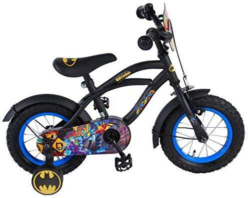 .Batman Kinderfahrrad Jungen 12 Zoll mit Vorradbremse am Lenker und Rücktrittbremse, Stützräder Schwarz 95% Zusammengebaut