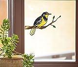 Bird - Western Meadowlark on Branch - Stained Glass Style See-Through Vinyl Window Decal - Yadda-Yadda Design Co. (MED 6.25