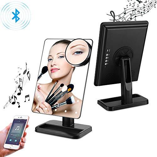 LED Bluetooth Schminkspiegel mit Touchscreen und 10-facher Vergrößerung, kabelloses Bluetooth + Freisprecheinrichtung und USB-Ladegerät, Bluetooth LED Spiegel (schwarz)