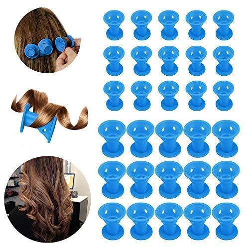 30 Pcs Rouleaux de cheveux en silicone,Beautyshow Bigoudis Flexibles Cheveux Rouleaux De Cheveux Magiques Magic Hair Curlers No Clip Rollers No pour Cheveux Bouclé (Bleu)