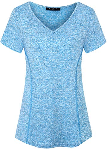 KORALHY Activewear for Women, Workout Top Athletic T-Shirt Stretchy Short Sleeve V Neck Performance Gym Clothe Curved Hem Summer Cool Comfortable Soft Fitnesss Clothes XX-Large Light Blue