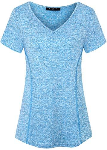 KORALHY Tops de yoga para mujer manga corta cuello en V Dri Fit entrenamiento deportes atléticos running camisas - azul - Medium
