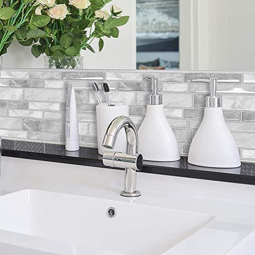 "Peel and Stick Tiles Kitchen Backsplash Decorative Wall Tile Sticker Light Gray Marble Design, 12""x12"