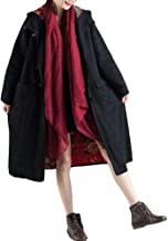 Minibee Women's Hooded Jacket Retro Chinese Frog Button Trench Coats Ethnic Jacquard Long Overcoat