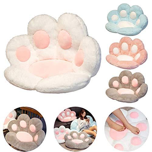 cnmd Cat Paw Kissen Niedliches Sitzkissen Cat Paw Shape Lazy Sofa Bärentatze Bürostuhl Kissen Gemütliches warmes Sitzkissen, Plüsch Sofakissen Home Decoration (Weiß)