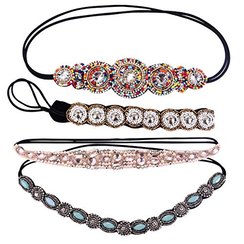 Beaupretty 4 Stück Strass Perlen Stirnbänder Handgemachte Vintage Schmuck Haarbänder Kein Slip Juwelen Kopf Wickelt Haarschmuck für Mädchen Strandparty
