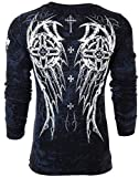 Affliction Archaic Mens Long Sleeve Thermal Shirt Spike Wings Biker (X-Large) Black