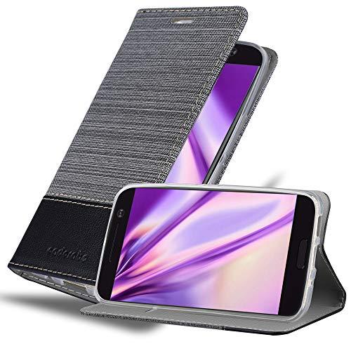 Cadorabo Hülle für HTC 10 (One M10) in GRAU SCHWARZ - Handyhülle mit Magnetverschluss, Standfunktion & Kartenfach - Hülle Cover Schutzhülle Etui Tasche Book Klapp Style