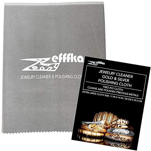 ZEFFFKA Paño para Limpiar y Pulir Oro y Plata para Joyas Monedas Relojes y Otros Objetos de Valor Finos Limpiador para Metales Preciosos Eliminador de Manchas Paños de Microfibra Suave Extragrande