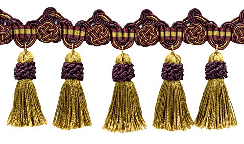 Fantastic Deal! DÉCOPRO 5 Yard Package of 3.75 Inch Black Cherry Red, Camel Beige, Purple Tassel Fr...