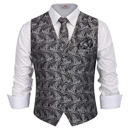 PAUL JONES Men's Paisley Dress Vest Set Neck Tie, Hanky for Suit or Tuxedo Size XL Grey