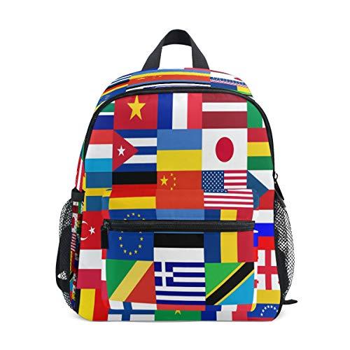 RXYY - Mochilas para niños, diseño de banderas del mundo, para viajes, preescolar, mochila informal con correa para el pecho, para niñas y niños