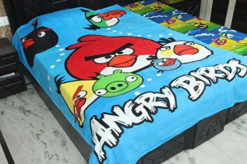Kouber Industries Angry Birds Taille complète Unique Couverture/Dohar/AC couettes en tissu doux et soyeux en velours (Angry Birds)