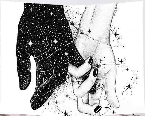 Amiiba Wandteppich, Motiv: Liebeshände, Motiv: Paare, Sterne, Galaxie, Wandbehang, abstrakte romantische Kunst, Heimdekoration für Schlafzimmer, Wohnzimmer (Hände, M – 149,9 x 129,5 cm)