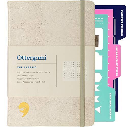 Carnet Bullet Journal Pointillé | Carnet de Notes + Pochoirs Bonus | 150gsm Papier notebook | The Classic par Ottergami (Toile Crème)
