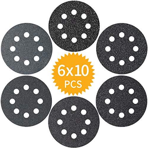 Akuoly Schleifpapier Set 125mm Schleifscheiben 60 Scheiben für Exzenterschleifer, 8 Loch, P60 P100 P150 P180 P240 P320