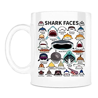 Shark Faces Mug, Shark Species Art Sea Animal Ceramic Coffee Mugs Saying White, 11Oz